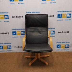 Ikea Linguojantis Fotelis Su Natūralia Oda, Švedija