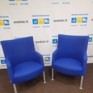 Kinnarps Invito mėlynas fotelis su aukštu atlošu, Švedija
