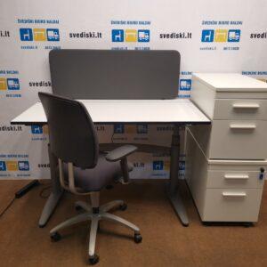 Komplektas: EFG Stalas+Drabert Biuro Kėdė+Dvigubas Palmberg Stalčių Blokas+Sienelė, Švedija