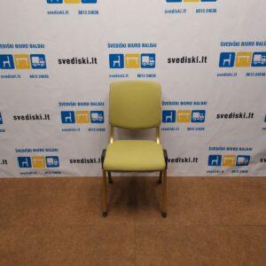 HAG Conventio 9520 Žalsva Lankytojo Kėdė Su Auksiniu Rėmu, Švedija