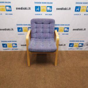 Violetinis Fotelis Su Buko Rėmu Ir Porankiais, Švedija