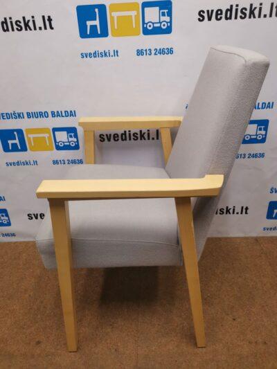 Pilkas Fotelis Su Beržo Rėmu Ir Porankiais, Švedija