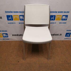 Balta Plastiko Kėdė Su Aliuminio Rėmu, Švedija