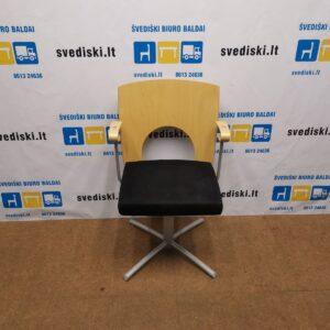 Kinnarps Yin Lankytojų Kėdė Su Juodu Alkantara Audiniu , Švedija