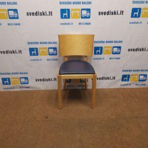 Offecct Beržo Lankytojo Kėdė Su Mėlyna Perforuota Oda, Švedija