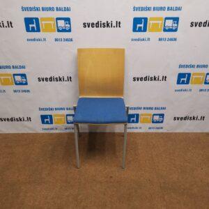 Klaessons Mėlyna Lankytojo Kėdė Su Beržo Nugaros Atrama, Švedija