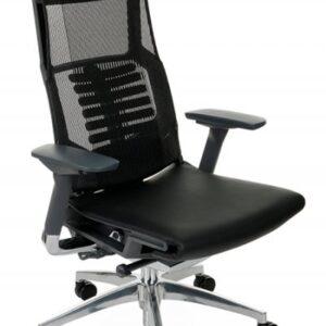 Nauja Juoda Ergonomiška Biuro Kėdė Pofit Su Natūralios Odos Sėdynė, Galvos Atrama Ir 3D Porankiais