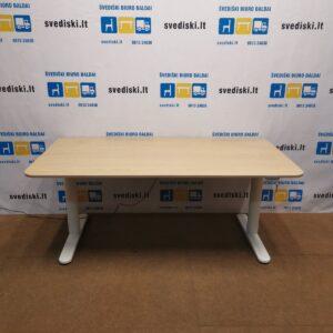 Ikea BEKANT Elektra Reguliuojamas Stalas Su Baltai Beicuotu Ąžuolo Stalviršiu 160x80cm, Švedija