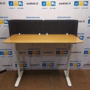 Ikea BEKANT Elektra Reguliuojamas Stalas Su Ąžuolo Stalviršiu Ir Sienele, Švedija