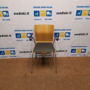 Garsnas Kėdė Su Antracito Natūralia Oda Ir Ąžuolo Fanera, Švedija