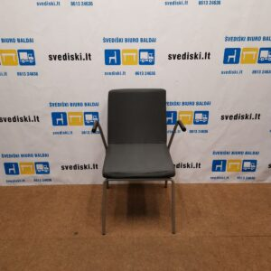 Skandiform Kėdė Su Tamsiai Pilku Audiniu Ir Porankiais, Švedija