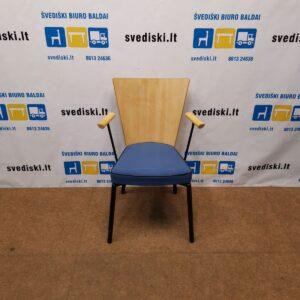 Scandiform Kėdė Su Beržo Aukšta Nugaros Atrama Ir Mėlyna Sėdima Dalimi, Švedija